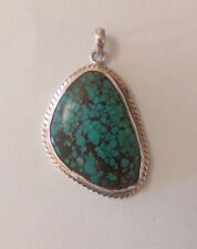 Sterling Silver Irregular Oval Shaped Turquoise  Pendant