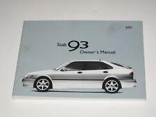 Saab 9-3 Owners Handbook Pack 2001