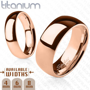 Polished Rose Gold Ion Plated Solid Titanium Ring Band Ring Sizes 5 thru 14