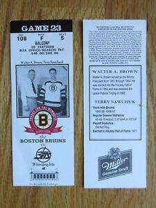 Game 23 TERRY SAWCHUCK Last Season BOSTON BRUINS 1/12/95 TICKET Sb Boston Garden