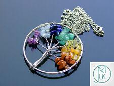 Handmade 7 Chakra Gemstone Tree of Life Natural Gemstone Pendant Necklace 50cm