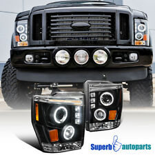 For 2008-2010 Ford F250/F350 LED Halo Projector Headlights Lamps Black