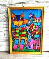 Rainbow Cats painting on glass Family of four Home wall decor Wall hanging