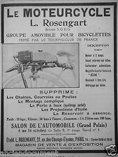 PUBLICITÉ 1923 LE MOTEURCYCLE L.ROSENGART POUR BICYCLETTES - ADVERTISING