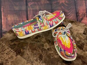 Sperry TOPSIDER A/O Ikat Rainbow Canvas Beaded BOAT SHOES Women's Sz 10 9165218