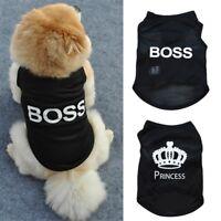 Pet Dog Cat Clothes Puppy Vest T Shirt Dress Coat BOSS PRINCESS Costume