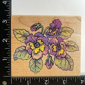 Rubber Stampede Pansy Wood Mounted Rubber Stamp Pansies Flowers