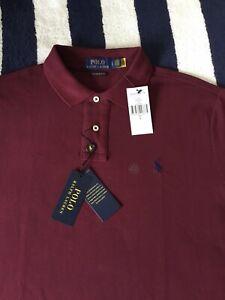 BNWT Mens Ralph Lauren Custom Slim Fit Burgundy Red Polo Shirt In Large