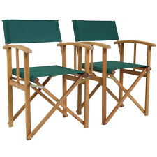 Charles Bentley Pair Of Folding Wooden Directors Chairs FSC Certified - Green