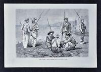 1880 Tour du Monde Print - Panamanian Soldiers - Panama - Reclus Canal Report