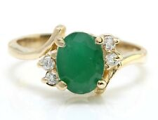 1.40 Carat Natural Emerald and Diamonds 14K Solid Yellow Gold Women Ring