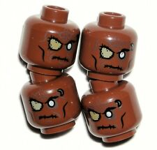 LEGO 4 Zombie Minifigure Heads Pirates of the Caribbean Reddish Brown NEW