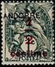 """ANDORRE FRANCAIS STAMP TIMBRE N° 1 """" BLANC 1/2 S. 1 C. GRIS NOIR """" NEUF xx TTB"""