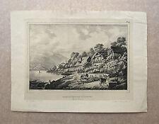 Lithographie, Habitations de pêcheurs, Lucerne , Suisse XIXème, E. Pingret