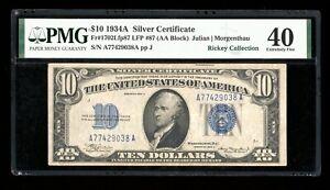 DBR 1934-A $10 Silver Fr. 1702 Rare Face Plate 87 PMG XF-40 Serial A77429038A