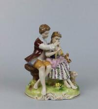 Antique Porcelain German Dresden Figurine of Young Couple Unterweissbach factory