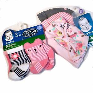 Gerber Organic Cotton Pink Hat Caps & Socks Baby Girl Size Newborn New