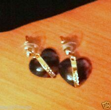 Hooch Brown Hearts Earrings, Gold Laced  RRP £24 BRAND NEW