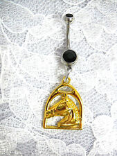 GOLD PLATE EQUESTRIAN HORSE HEAD IN STIRRUP ON DBL BLACK CZ BELLY BUTTON RING