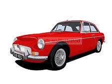 MGC GT CAR ART PRINT (SIZE A3). CHOOSE YOUR COLOUR, ADD YOUR REG PLATE