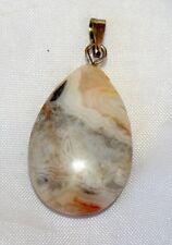 Silver Leaf Jasper Gemstone Crystal Drop-Shape Pendant, Reiki Blessed, Gift Bag