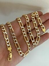 Mens 8mm 14k Gold & Real Solid Sterling Silver Figaro Chain Two Tone Diamond Cut
