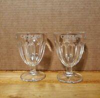 Set of 2 clear glass Carolans Irish Cream Dessert glasses - Vintage ice cream