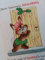 1950s Vtg MERRY CHRISTMAS NEIGHBOR Anthro BUNNY Hall Brothers GREETING CARD