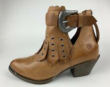 Ariat Womens Distressed Tan Leather Ankle Boots Sz US 8.5