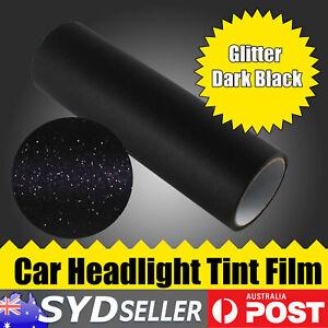 Glitter Car Headlight Tail Tint Film Side Lamp Overlay Dark Black 200cm x 30cm