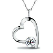 Heart Pendant 925 Sterling Silver Necklace Chain Womens Girls Jewellery Gift New