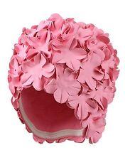 Ladies Swimming Hat Bathing Cap Pretty Pink Flower Petals Retro Vintage Style