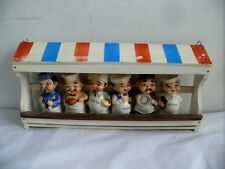 VINTAGE CHARACTER STATUE FIGURINE CERAMIC SPICE SET IN TIMBER RACK 1960s KITSCH