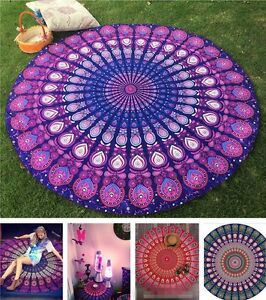 Bohemian Mandala Round Holiday Beach Tapestry Hippie Throw Yoga Mat Towel Indian