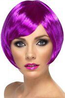 Womens Purple Bob Wig Short Bright Magenta Hair Halloween Costume EDM Adult NEW
