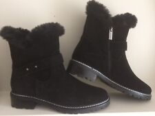 Women  Winter Ankle boots Suede Leather black size 7 with Fur Valdini low heels