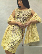 "Ladies Dress and beautiful Stole Crochet pattern 34-40"" 4ply  Retro 670"