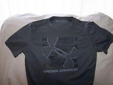 Boys Under Armour Gray Short Sleeve BIG LOGO Shirt Large LOOSE FIT