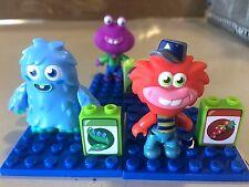 """MEGA BLOKS Moshi Monsters Lot 3 Sets Red Blue Purple 2"""" Miniature Figure EUC"""