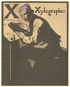William Nicholson Woodcut Print 1898 X for Xylographer Alphabet Lithograph 1975