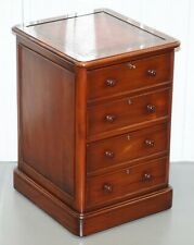 CHERRY WOOD OXBLOOD LEATHER TOP OFFICE FILING CABINET PART OF A LARGE SUITE