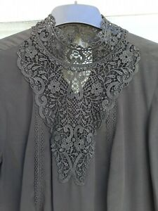 Victorian Style Blouse Lace High Neckline Size 10 M & S Gothic Bohemian Black