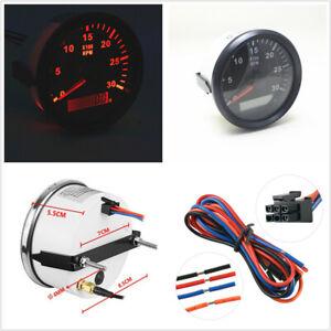 Car Boat Truck 85mm LCD Digital Tachometer Hourmeter REV Counter  3000RPM 9-32V