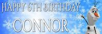 "2x Personalised frozen Olaf  Birthday party banners.Any Name/Age banner -36""x12"""