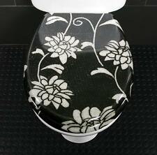 Toilet Seat Tiled Black & White Flower Novelty Toilet Seat Stainless Steel Hinge