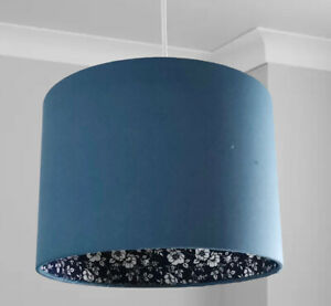 New HQ double Sided Classic Blue With Inner Floral Print Pendant Lamp Shade 30cm