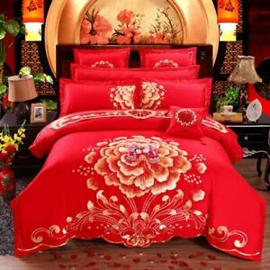 Chinese Tradition Red Wedding Bedding Set Embroidery Duvet Cover Sheet Bedlinen