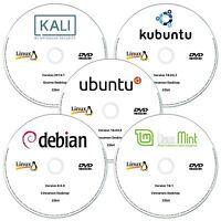 5 x Linux DVD Collection 32-Bit Ubuntu, Linux Mint, Debian, Kubuntu & Kali Linux