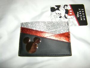 Disney Mickey Mouse Card Holder Wallet ID Holder Silver Glitter & Keychain NEW