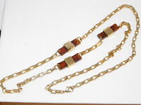 """Cool Vintage Faux Tortoise Resin Gold Plated Chunky 36"""" Chain Necklace 5e 31"""